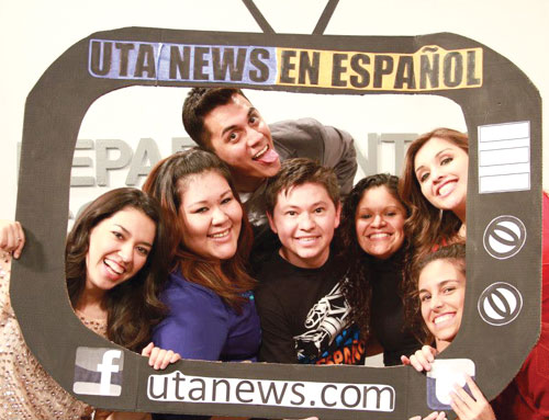 Current and former members of UTA News en Español gathered for the semester's final newscast on Dec. 5. Pictured, from left, are Sonia Salas, Karen Ramirez, Raul Solis, Julian Rodriguez, Elia Torres, Reyna Cavazos (top), and Maria Martinez (bottom).