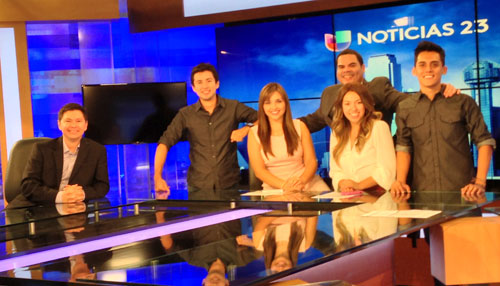 Lecturer Julian Rodriguez (far left) recently visited the set of Univision 23 in Dallas and ran into several UT Arlington graduates: (from left) Tommy Orellana ('09), newscast director; Reyna Cavazos ('11), journalist/video editor; Edgar Maldonado ('12), program and communications manager at Parents Step Ahead; Sonia Salas ('12), floor manager; and Raul Solis ('12). (Photo contributed)