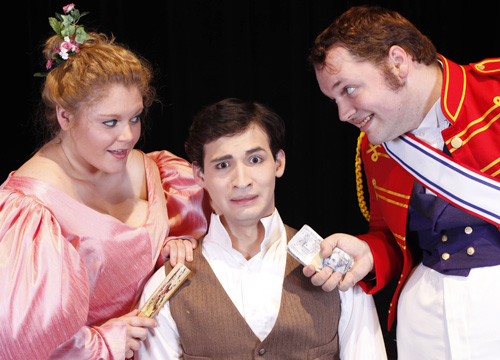 "From left, Katherine Weekley, Joshua Eguia and Wesley Farnsworth star in the Maverick Theatre Company's production of ""The Government Inspector"" on Oct. 18-27. (Photo contributed)"