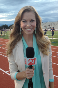 "Shaunda Poster ('13) debuted this fall as a sideline reporter for the KTXA 21 ""High School Football"" game coverage. (Photo contributed)"