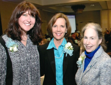Dean Beth Wright, right, was one of three finalists for the Arlington Chamber of Commerce Women's Alliance Hero Award last year. Linda Dipert, left, and Kristin Vandergriff, center, were also nominated; Vandergriff won. (Photo by Alexander Portrait Designers)