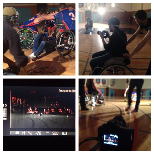 Students from the UTA chapter of the American Advertising Federation work with players from the Movin' Mavs on promotional commercials. (Photo contributed)