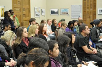 Students listen during a Feb. 10 lecture event highlighting the art, culture, politics and history of South Asia.