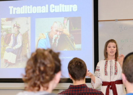 Social work major Amberly Prykhodko, who is minoring in Russian, gives a presentation on Ukraine's history and the current crisis during a Critical Area Student Seminar on Feb. 21. The event was sponsored by the Charles T. McDowell Center for Critical Languages and Area Studies. (Photo contributed by Dr. Mark Cichock)