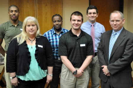 Several students were awarded scholarships during the Department of Criminology and Criminal Justice's annual luncheon April 2. Awardees include (back row, from left) Courtland Alexander, Shardae Spencer, and Zane Nash; and (front row, from left) Dawn Shelton, Branson Grisham and Marcus Lewis. (Photo by James Dunning/COLA)