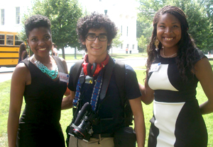UT Arlington students Iriel Hampton (left), Christian Vasquez and Nadajalah Bennett (right) pose during an event in July 2014 celebrating the 50th anniversary of the Civil Rights Act of 1964. (Photo contributed)