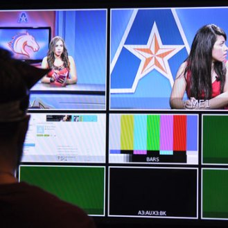 The Department of Communication's new control room features larger production screens. (James Dunning/COLA Communications)