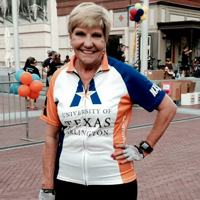 Fort Worth Mayor Betsy Price, who spoke at Comm Day 2014, wore a UT Arlington jersey during a recent bike race. (Photo contributed)