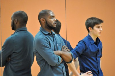 Dancers watch as ensemble members rehearse Wednesday, Nov. 25, in the Swift Center. The UTA Dance Ensemble's show runs Dec. 5-7. (Photo by James Dunning/COLA Communications)