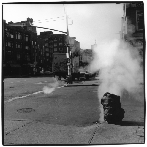 "Sylvia Plachy, Homeless in Chelsea, 1985, silver gelatin print, 15"" x 15"""
