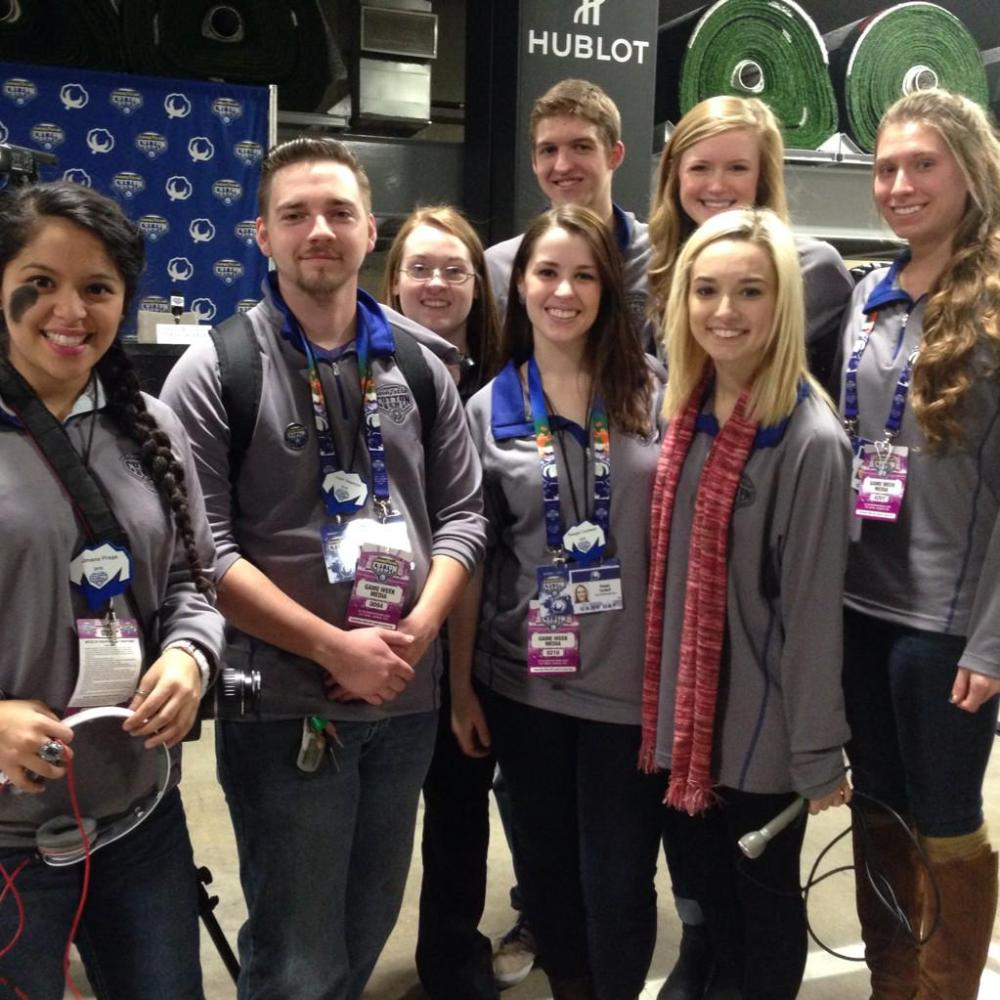Students participating in the Cotton Bowl project include, left to right,  Jimena Fraga, Josh Pearson, Jessica Stroud, Parker Hillis, Raegan Cardwell, Hannah Barnett, Shayda Nazifpour and Amanda Kent. (Photo contributed)