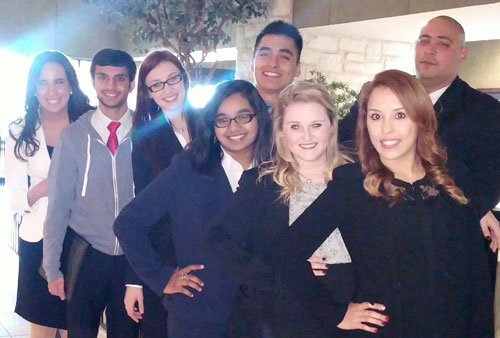 Nine UT Arlington students competed recently in the American Mock Trial Association regional tournament at UT Dallas. Pictured, from left, are Nahielys La Fontaine, Davinder Jassel, Ashley Pfeifer, Mehwish Merchant, Ramon Hernandez, Madison Speer, Karina Loya and Eddie Rodriguez. Not pictured are Jaqueline Ramos and the group's coach, Pre-Law Director Amber White. (Photo contributed)