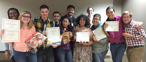 The Department of Theatre Arts group that attended a recent theatre competition and symposium included (from left) Whitley White-Body, Elly Hunt, Austin Brown, Jorge Lanuza, Jailene Torres, Gatlin Douglas, Tiffany Cromwell, Taylor Adams, Alohilani Valdez, Raul Luna and Jesse Scott. (Photo contributed)
