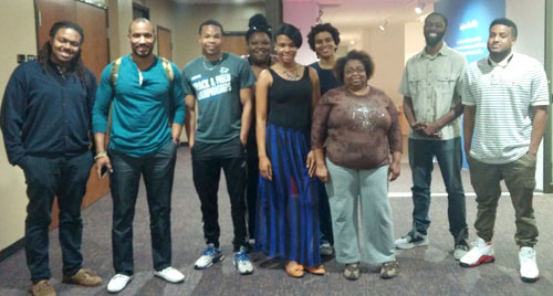 Student members of the UT Arlington chapter of National Association of Black Journalists include, from left to right, Rodney Sanders, Tony Curtis Hughes, Christian Clark, Secret Bridgewater, Denisecia Wilson, Lauren Womble, Sylvia Elgin, Reginald Adetula and Tre' Stein. Adetula was vital in reviving the NABJ chapter. (Photo contributed)
