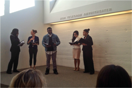 UTA Communication Studies students performing an RT piece at the Arlington Museum of Art. (Photo contributed)