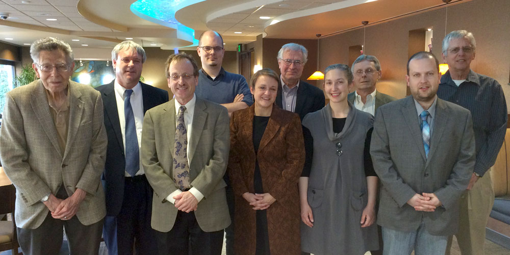 The Department of History honored last month faculty members or graduate students who published a book or manuscript in the past year. Picture, from left, are Jerry Rodnitzky, Dave Watry, David Narrett, Kenyon Zimmer, Stephanie Cole, Robert Fairbanks, Katy Beebe, Donald Kyle, Pawel Goral and Douglas Richmond. (Photo contributed)
