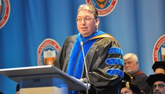 Jeronimo Valdez ('99) was the keynote speaker at the College of Liberal Arts' Spring 2015 Commencement on Friday, May 15, at College Park Center. (Photo by James Dunning/COLA Communications)