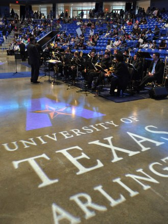 The UTA Jazz Band entertains audiences prior to the College of Liberal Arts' Spring 2015 Commencement to begin Friday, May 15. (Photo by James Dunning/COLA Communications)