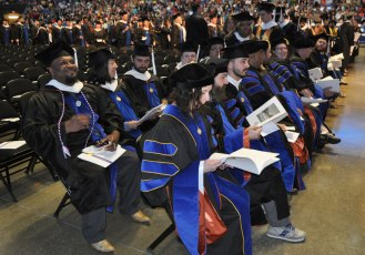 A scene from the College of Liberal Arts' Spring 2015 Commencement at College Park Center on Friday, May 15. (Photo by James Dunning/COLA Communications)