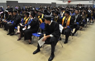 Students wait for the College of Liberal Arts' Spring 2015 Commencement to begin Friday, May 15. (Photo by James Dunning/COLA Communications)