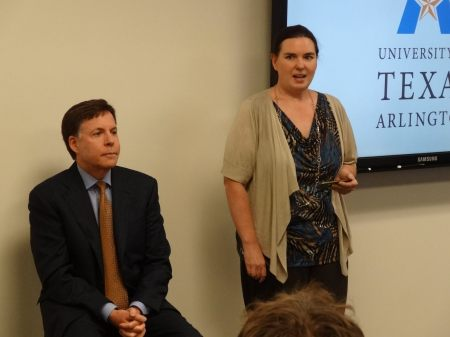 Assistant Professor Erika Pribanic-Smith (Communication), right, introduces legendary sportscaster Bob Costas during a Q-and-A session with UT Arlington students on April 13. Costas spoke at the Maverick Speaker Series event in the College Park Center late that night. (Photo by Jason Smith)