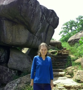History alumna Dr. Anne Bailey poses in front of Devil's Den at Gettysburg National Military Park in Pennsylvania in 2014. (Photo contributed)
