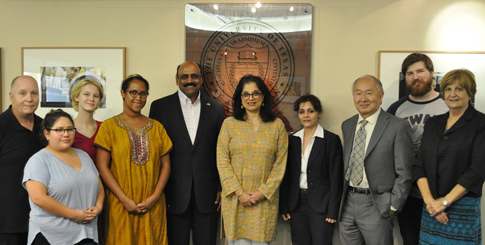 UTA students and faculty met with Gandhi's great granddaughter on her early October visit to campus. Pictured (left to right) are Randall Cox, Ivy Ghyslaine Lopez, Morgen Lanueva, Fatima-Ayan Hirsi, Dr. Prasad Thotakura, Sukanya Bharat Ram, Associate Professor Ritu Gairola Khanduri (Anthropology), College of Liberal Arts Dean Paul Wong, Adam Krajewski and COLA Development Director Nancy Lemkie. (Photo by James Dunning/COLA Communications)