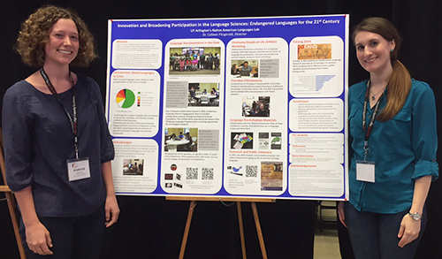 Department of Linguistics & TESOL graduate student Kimberly Johnson (left) and undergrad Frankie Pennington presented a Native American Languages Lab poster at Innovation Day on Oct. 22 at the College Park Center. The poster offered an overview on various projects within the group. (Photo contributed)