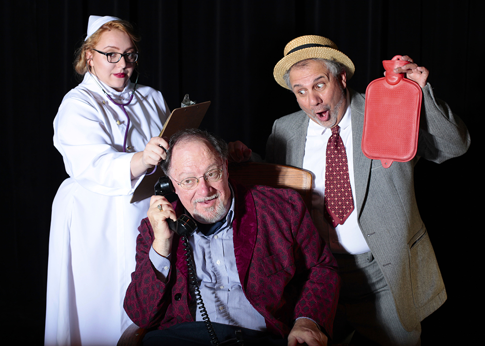 "CAPTION: A publicity photo for the Maverick Theatre Company's upcoming ""The Man Who Came to Dinner."" The comedy stars (from left) Zoe Brantley, Associate Professor Dennis Maher and Associate Professor Joe Chapa. (Photo contributed)"